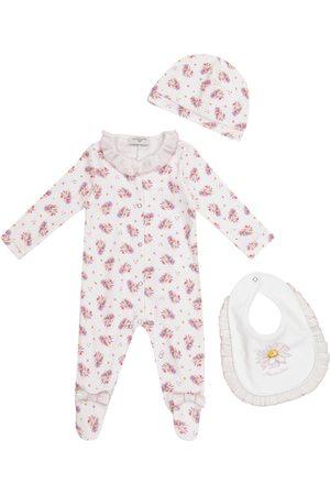 MONNALISA Exclusive to Mytheresa – Baby floral cotton onesie, hat and bib set