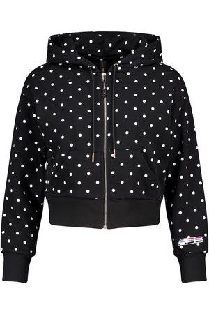 Adam Selman Sport Polka-dot cropped cotton-blend hoodie