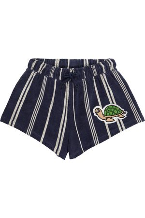 Mini Rodini Turtle striped cotton-blend terry shorts