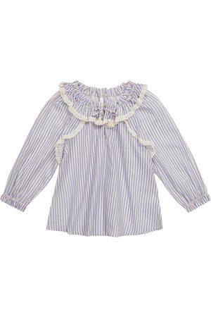ZIMMERMANN Aliane Gather Neck striped cotton blouse