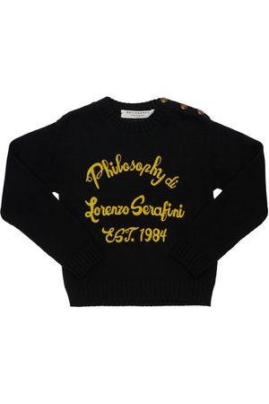 Serafini Logo Flocked Wool Blend Knit Sweater