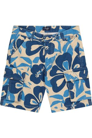 Il gufo Floral stretch cotton and linen shorts