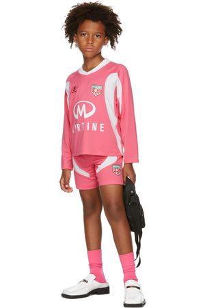 MARTINE ROSE SSENSE Exclusive Kids Pink & White Football Jersey Shorts