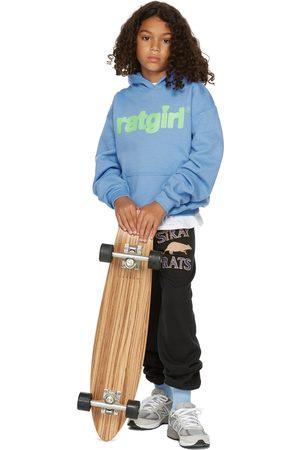 Stray Rats Hoodies - SSENSE Exclusive Kids Blue Fleece 'RatGirl' Hoodie