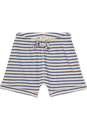 Caramel Piranha striped cotton and linen shorts