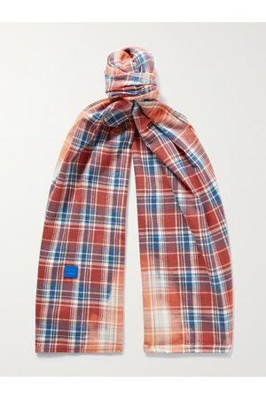 Acne Studios Heren Sjaals - Logo-Appliquéd Checked Cotton-Flannel Scarf