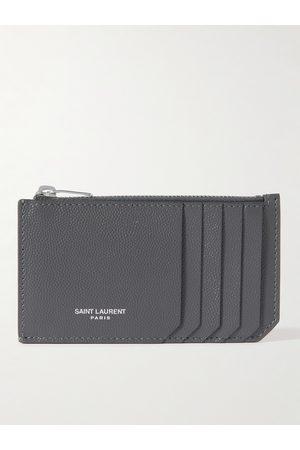 SAINT LAURENT Heren Portefeuilles - Logo-Print Pebble-Grain Leather Cardholder