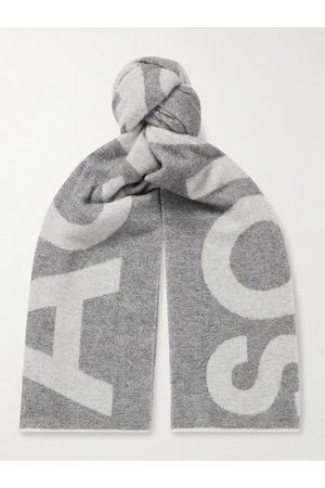 Acne Studios Heren Sjaals - Reversible Two-Tone Intarsia Wool-Blend Scarf