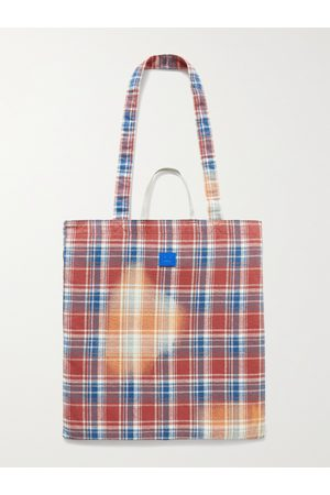 Acne Studios Heren Shoppers - Printed Checked Cotton-Flannel Tote Bag