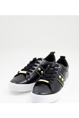 Miss KG Wide fit pearl trainers in black