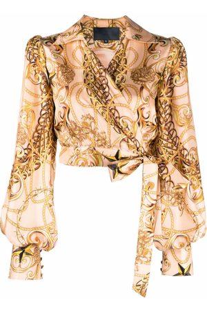 Philipp Plein New-baroque wrap silk blouse