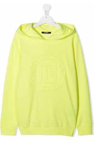 Balmain TEEN logo-embossed cotton hoodie