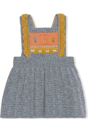 Gucci Embroidered intarsia-knit wool dress
