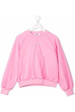 Msgm Tulle-layered cotton sweatshirt