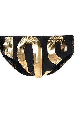 Moschino Metallic-logo swim trunks