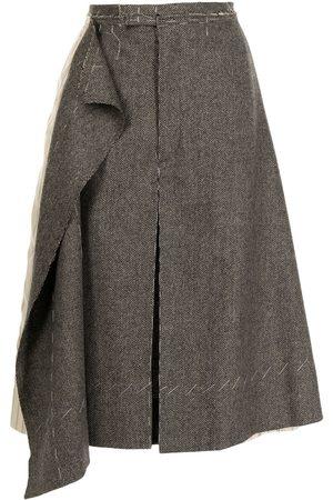 Maison Margiela Asymmetric wool-panel shorts