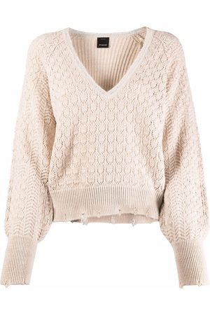 Pinko V-neck open-knit jumper