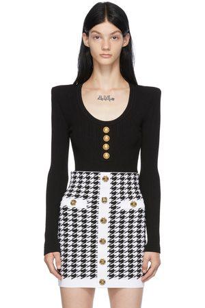 Balmain Dames Bodysuits - Black Rib Knit Button Bodysuit