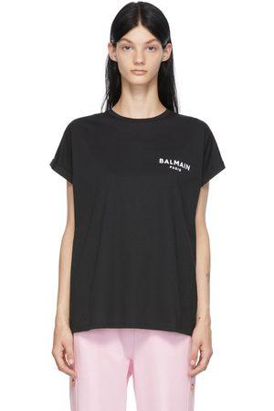 Balmain Black Flocked Logo T-Shirt