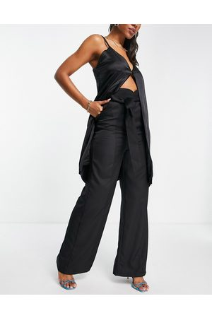 Club L Wide leg slouchy trouser with belt co ord in black