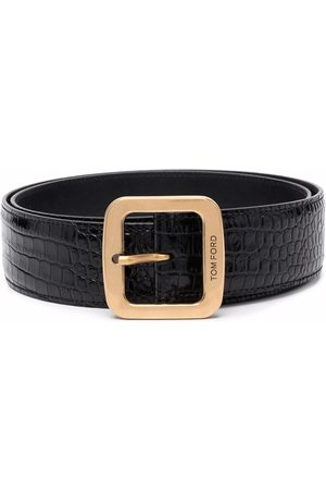 Tom Ford Heren Riemen - Crocodile-effect leather belt