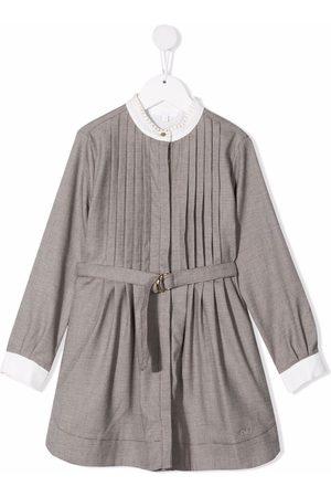 Chloé Meisjes Casual jurken - Check-print pleated dress