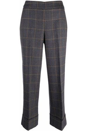 PESERICO SIGN Dames Wijde broeken - Checked wide-leg trousers