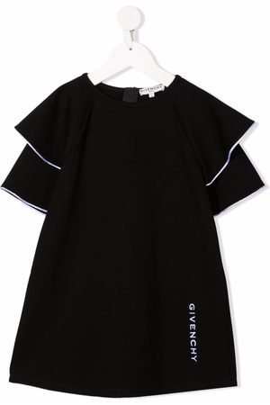 Givenchy Embroidered-logo ruffled-sleeves dress