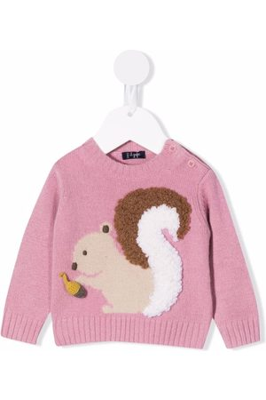 Il gufo Truien - 3D squirrel-knit jumper
