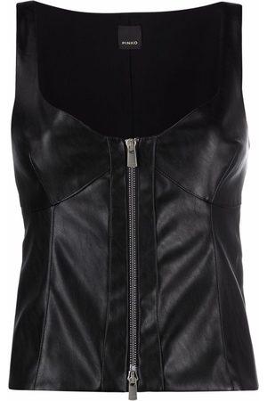 Pinko Dames Tanktops - Faux leather zipped waistcoat