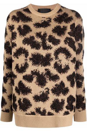 Philipp Plein Dames Gebreide truien - Long-sleeved lurex leopard jumper