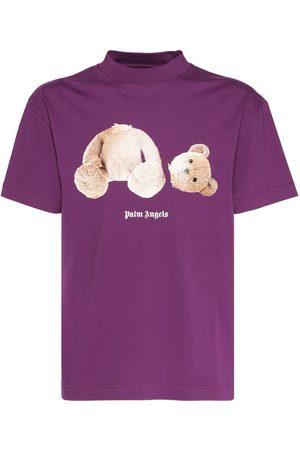 Palm Angels Heren T-shirts - Logo & Bear Print Cotton Jersey T-shirt