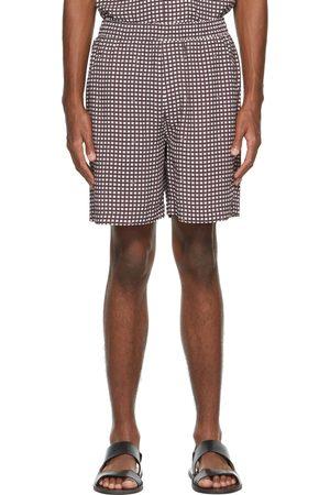 CDLP Burgundy & White Check Pool Shorts