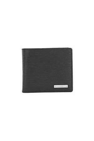 HUGO BOSS Heren Portefeuilles - Italian-leather wallet with logo plate and coin pocket