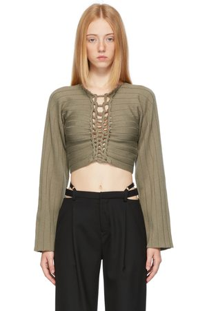 DION LEE Dames Sweaters - Khaki Braided V-Neck Sweater