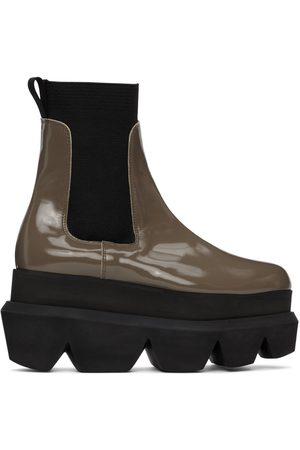 SACAI Taupe Patent Leather Platform Chelsea Boots