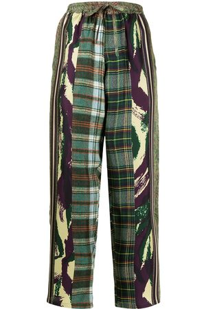 PIERRE-LOUIS MASCIA Patchwork-print cropped trousers