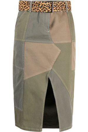 Pinko Belted patch-work midi skirt