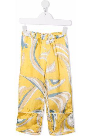 Emilio Pucci Jongens Broeken - Abstract-print satin trousers