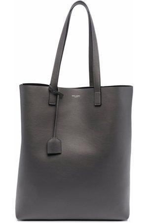 Saint Laurent Heren Shoppers - Logo-print leather tote bag