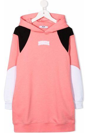 Msgm Meisjes Geprinte jurken - Logo-print hooded jumper dress