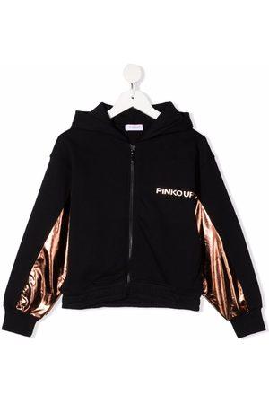 Pinko Kids Metallic-panelled hoodie
