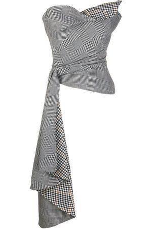 Oscar de la Renta Asymmetric checked corset top