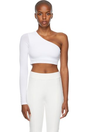 alo White Ribbed Wave Sport Top