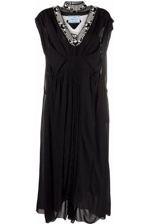 Prada Jacquard knit-trim draped-effect long dress