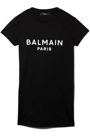 Balmain Meisjes Geprinte jurken - Logo print T-shirt dress