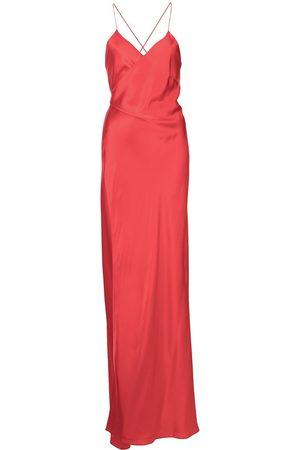 Michelle Mason Dames Feestjurken - Cross-strap silk wrap gown