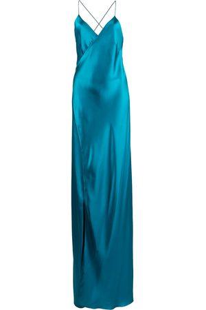 Michelle Mason Cross-strap silk wrap gown