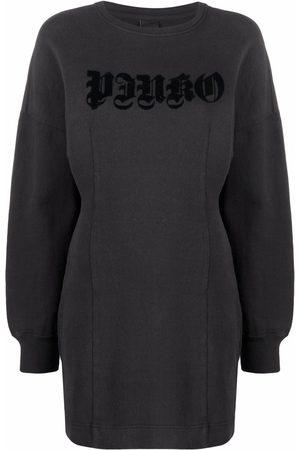 Pinko Dames Little black dress - Logo-appliqué puff-sleeve minidress
