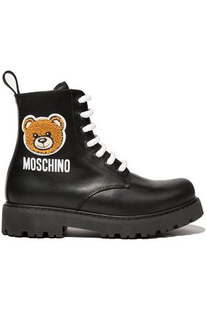Moschino Teddy patch lace-up boots